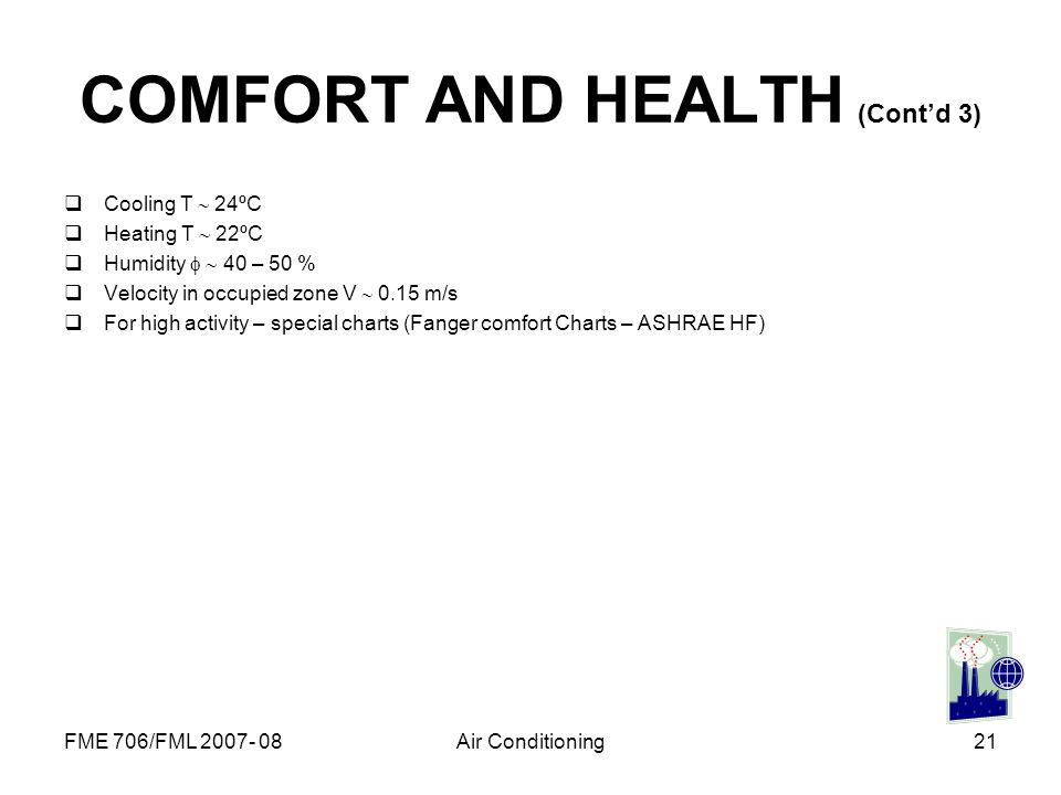 FME 706/FML 2007- 08Air Conditioning21 COMFORT AND HEALTH (Contd 3) Cooling T 24ºC Heating T 22ºC Humidity 40 – 50 % Velocity in occupied zone V 0.15
