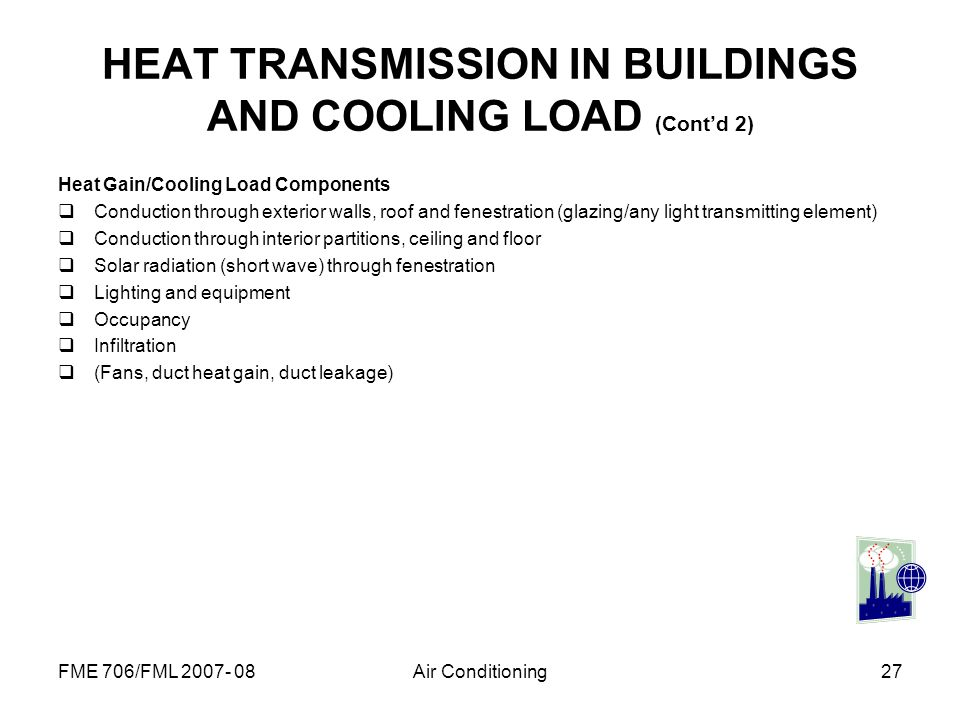 FME 706/FML 2007- 08Air Conditioning27 Heat Gain/Cooling Load Components Conduction through exterior walls, roof and fenestration (glazing/any light t