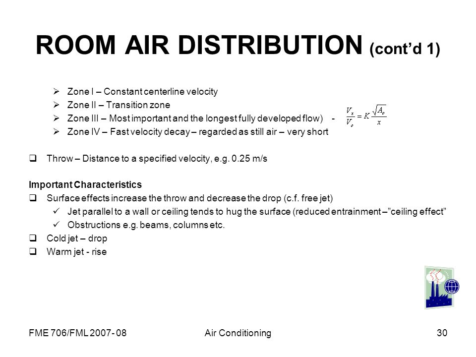 FME 706/FML 2007- 08Air Conditioning30 ROOM AIR DISTRIBUTION (contd 1) Zone I – Constant centerline velocity Zone II – Transition zone Zone III – Most