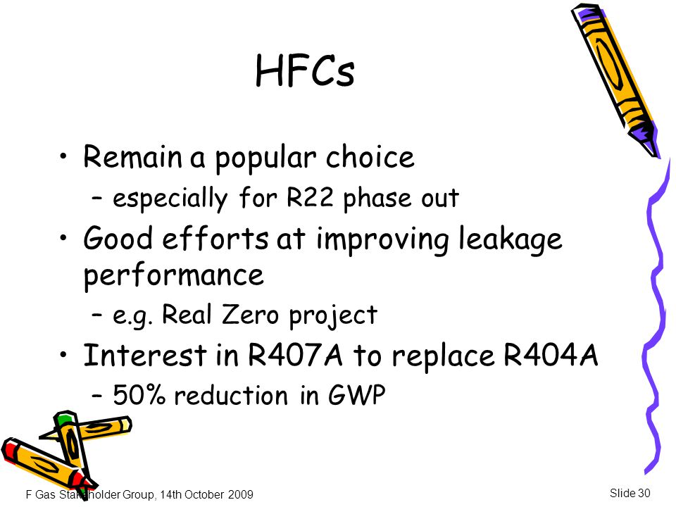 F Gas Stakeholder Group, 14th October 2009 Slide 30 HFCs Remain a popular choice –especially for R22 phase out Good efforts at improving leakage perfo