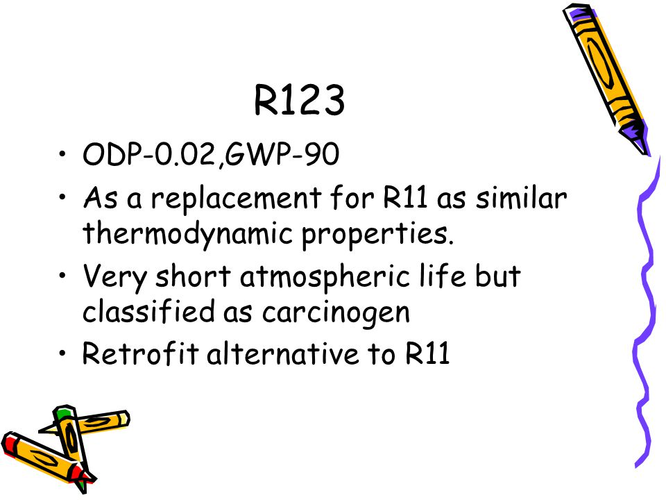 R123 ODP-0.02,GWP-90 As a replacement for R11 as similar thermodynamic properties. Very short atmospheric life but classified as carcinogen Retrofit a