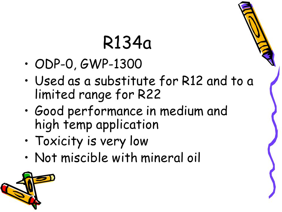 R134a ODP-0, GWP-1300 Used as a substitute for R12 and to a limited range for R22 Good performance in medium and high temp application Toxicity is ver