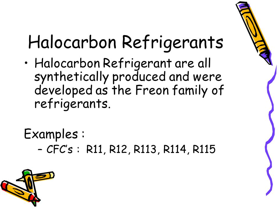 Halocarbon Refrigerants Halocarbon Refrigerant are all synthetically produced and were developed as the Freon family of refrigerants. Examples : –CFCs