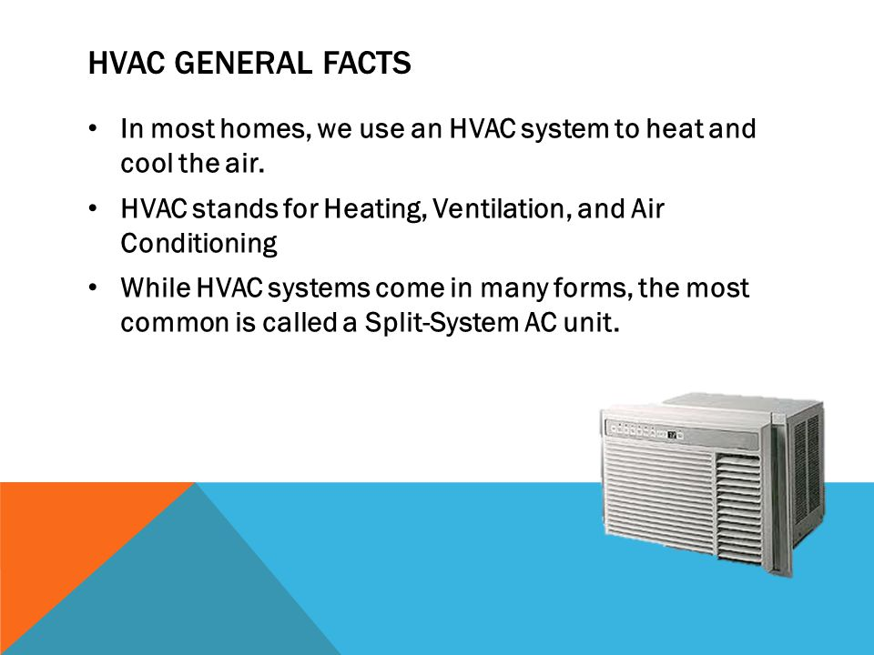 HVAC GENERAL FACTS In most homes, we use an HVAC system to heat and cool the air. HVAC stands for Heating, Ventilation, and Air Conditioning While HVA