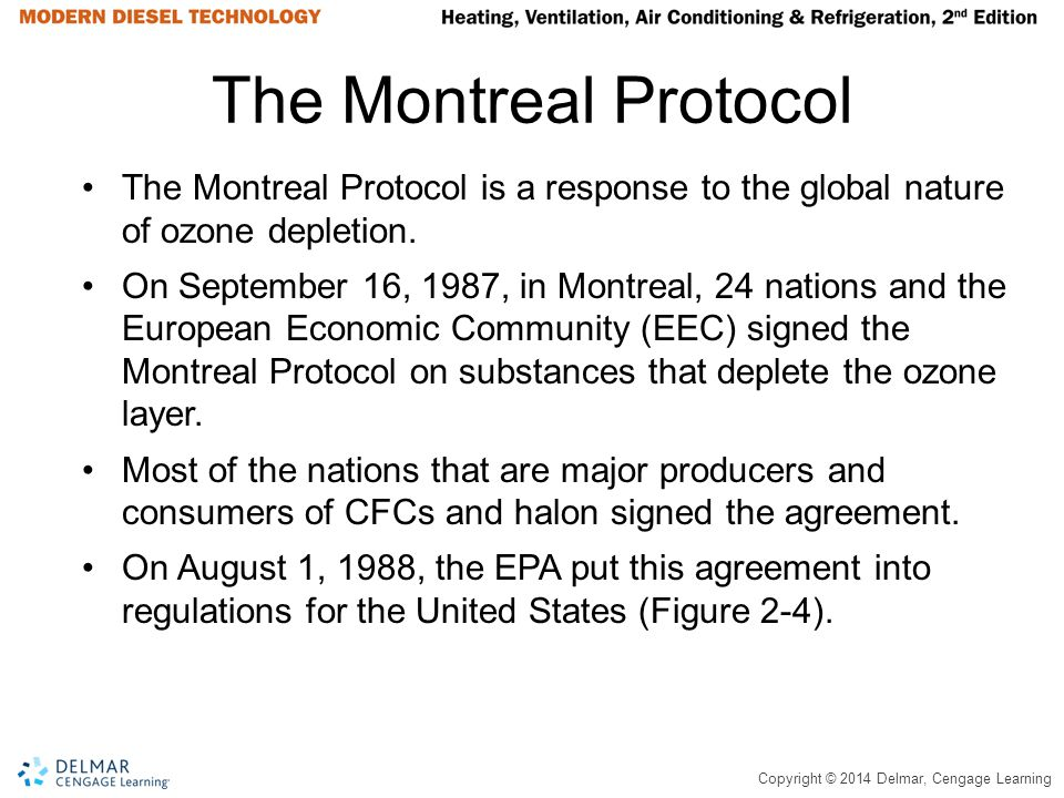 Copyright © 2014 Delmar, Cengage Learning The Montreal Protocol The Montreal Protocol is a response to the global nature of ozone depletion. On Septem