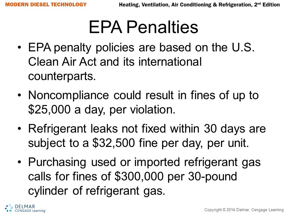 Copyright © 2014 Delmar, Cengage Learning EPA Penalties EPA penalty policies are based on the U.S. Clean Air Act and its international counterparts. N