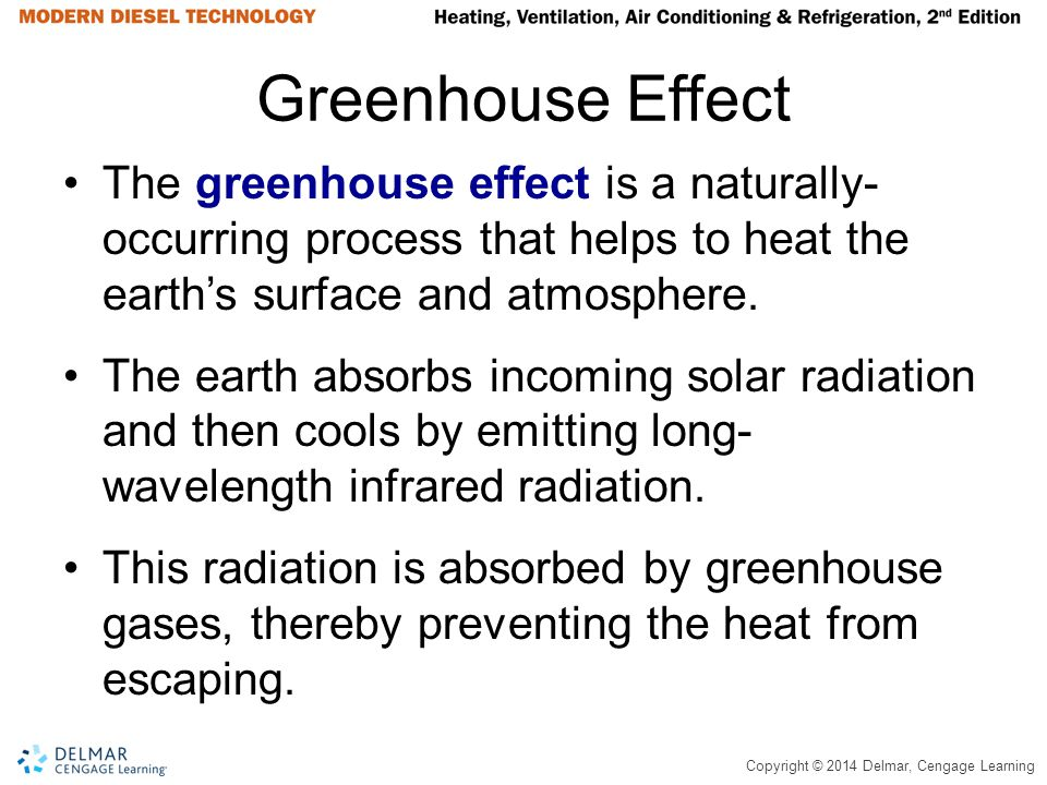 Copyright © 2014 Delmar, Cengage Learning Greenhouse Effect The greenhouse effect is a naturally- occurring process that helps to heat the earths surf