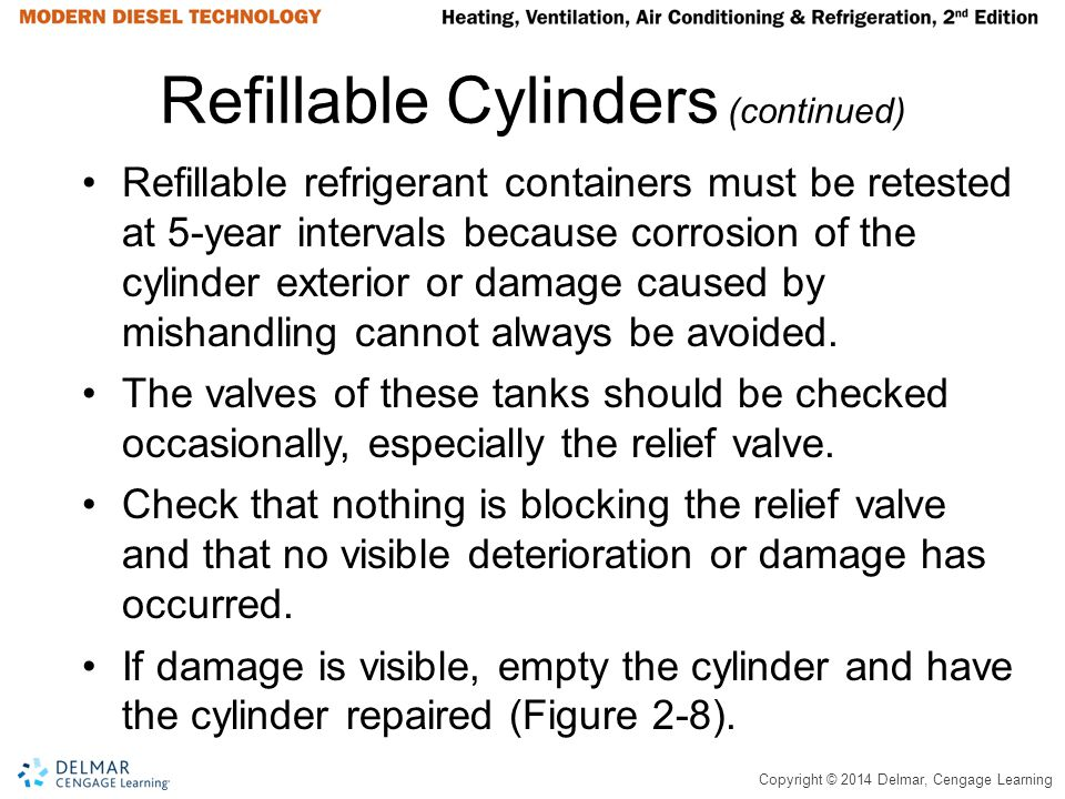 Copyright © 2014 Delmar, Cengage Learning Refillable Cylinders (continued) Refillable refrigerant containers must be retested at 5-year intervals beca