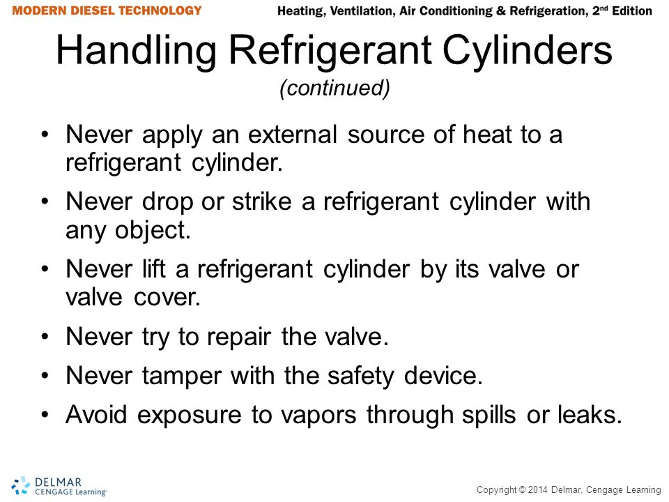 Copyright © 2014 Delmar, Cengage Learning Handling Refrigerant Cylinders (continued) Never apply an external source of heat to a refrigerant cylinder.