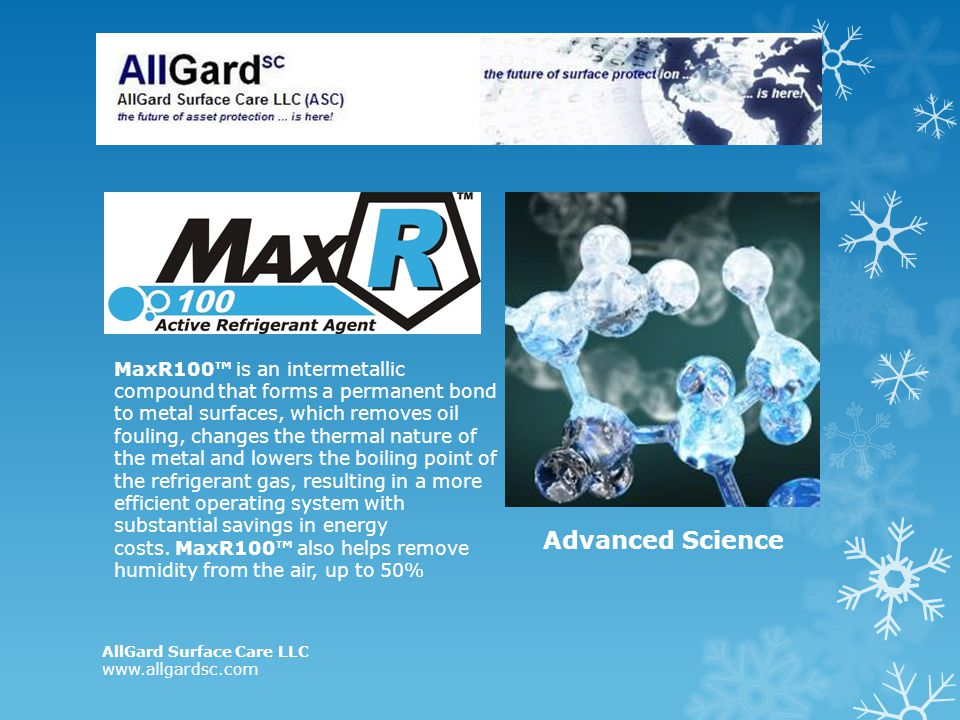 MaxR100 is an intermetallic compound that forms a permanent bond to metal surfaces, which removes oil fouling, changes the thermal nature of the metal