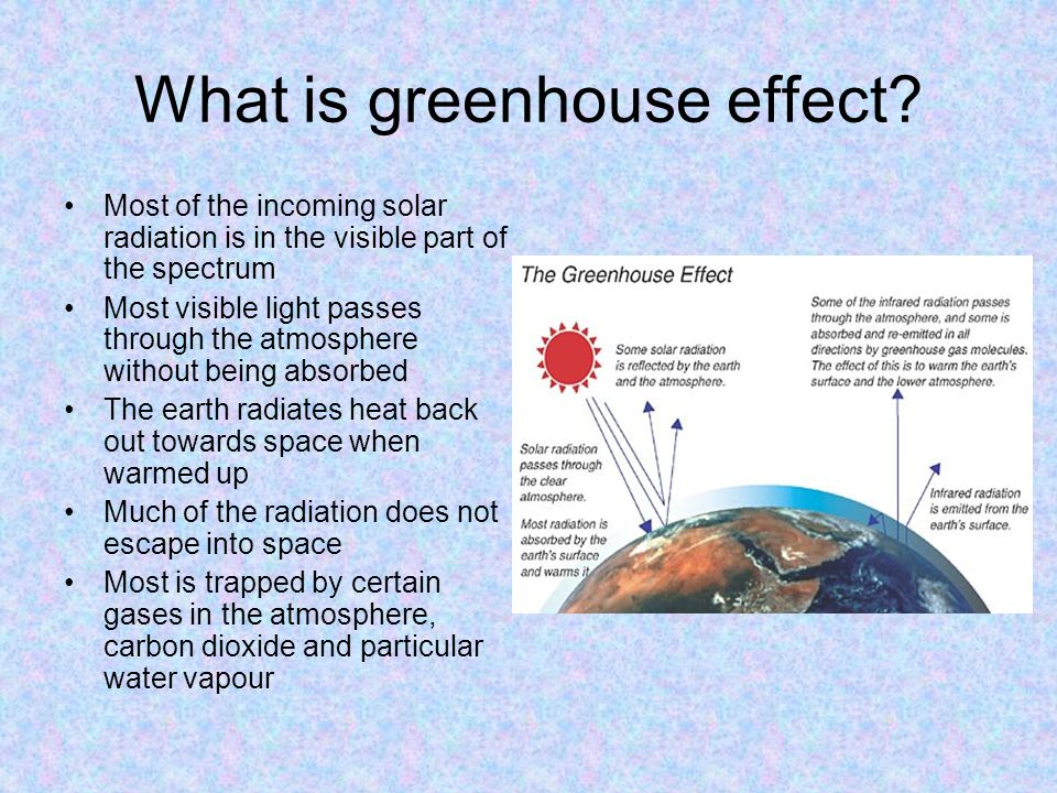 What is greenhouse effect? Most of the incoming solar radiation is in the visible part of the spectrum Most visible light passes through the atmospher