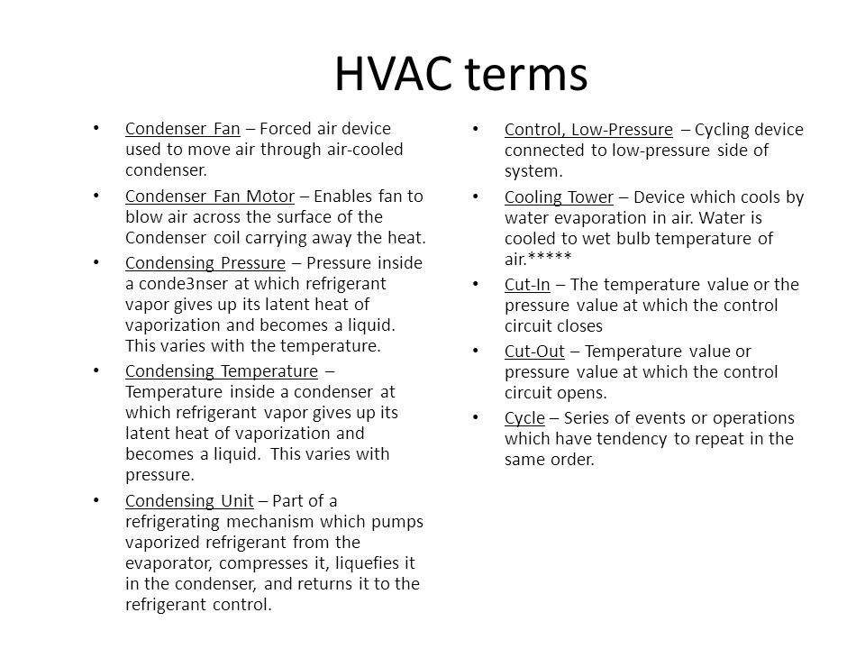 HVAC terms Damper – Device for controlling airflow.