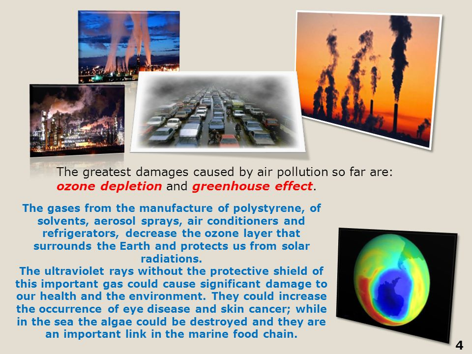 The greatest damages caused by air pollution so far are: ozone depletion and greenhouse effect.