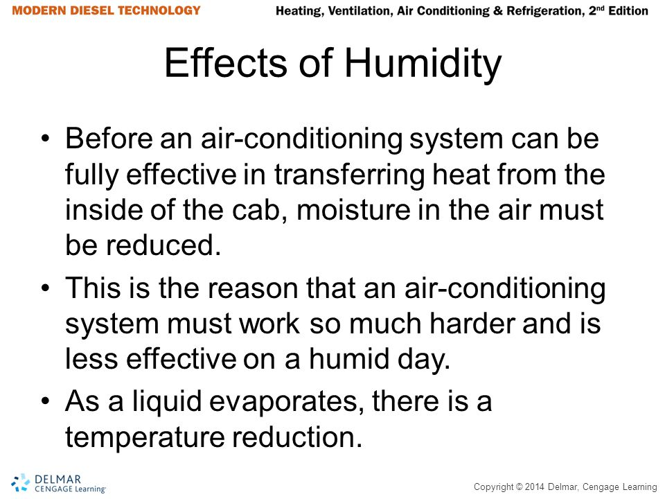 Copyright © 2014 Delmar, Cengage Learning Effects of Humidity Before an air-conditioning system can be fully effective in transferring heat from the i