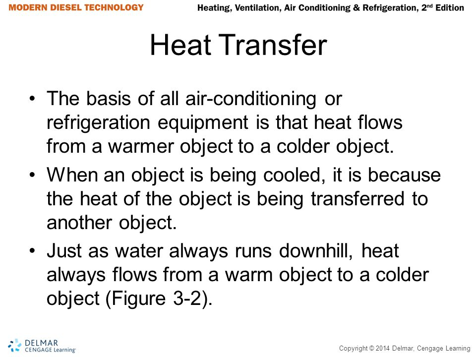 Copyright © 2014 Delmar, Cengage Learning Heat Transfer The basis of all air-conditioning or refrigeration equipment is that heat flows from a warmer