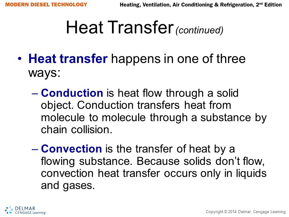 Copyright © 2014 Delmar, Cengage Learning Heat Transfer (continued) Heat transfer happens in one of three ways: –Conduction is heat flow through a sol