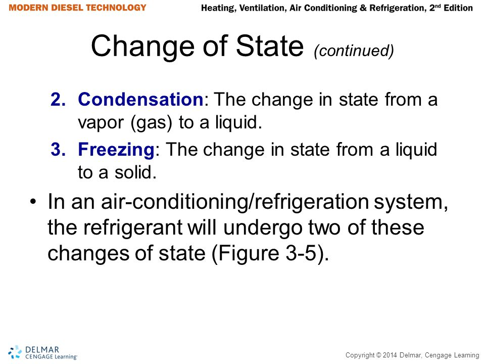 Copyright © 2014 Delmar, Cengage Learning Change of State (continued) 2.Condensation: The change in state from a vapor (gas) to a liquid. 3.Freezing: