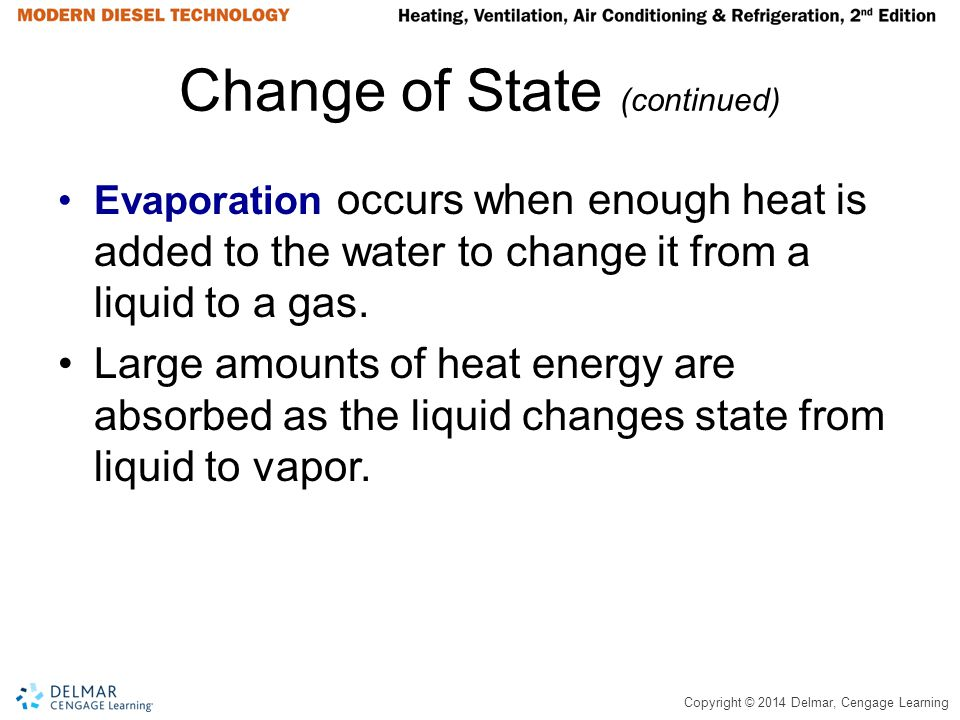 Copyright © 2014 Delmar, Cengage Learning Change of State (continued) Evaporation occurs when enough heat is added to the water to change it from a li