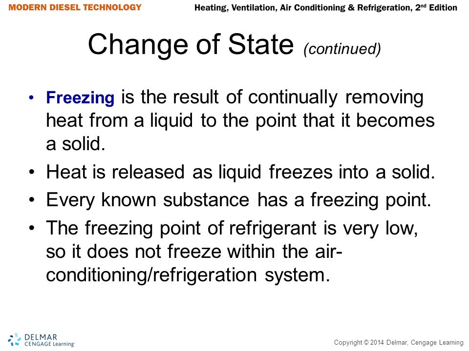 Copyright © 2014 Delmar, Cengage Learning Change of State (continued) Freezing is the result of continually removing heat from a liquid to the point t