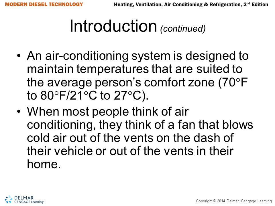 Copyright © 2014 Delmar, Cengage Learning Introduction (continued) An air-conditioning system is designed to maintain temperatures that are suited to