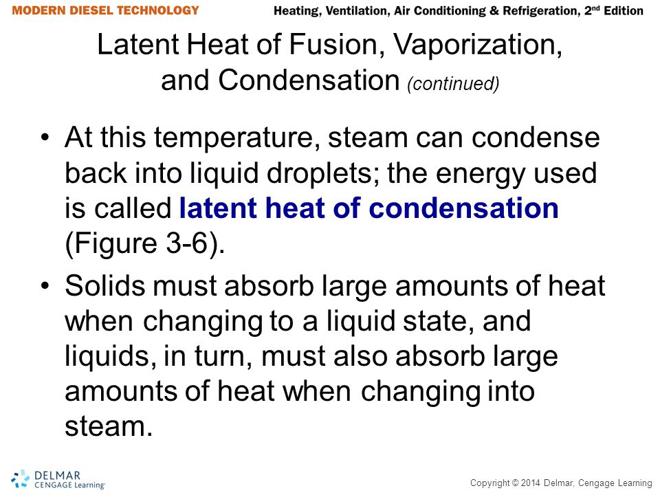 Copyright © 2014 Delmar, Cengage Learning Latent Heat of Fusion, Vaporization, and Condensation (continued) At this temperature, steam can condense ba