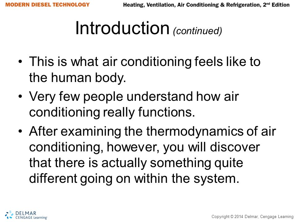 Copyright © 2014 Delmar, Cengage Learning Introduction (continued) This is what air conditioning feels like to the human body. Very few people underst