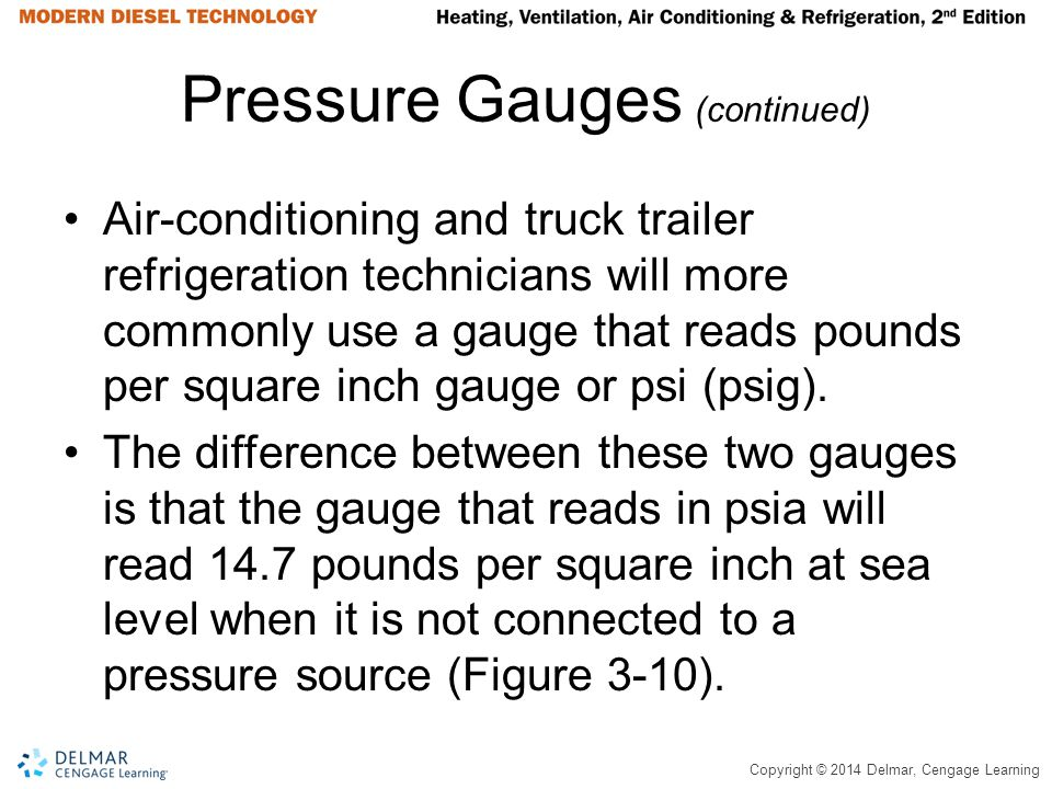 Copyright © 2014 Delmar, Cengage Learning Pressure Gauges (continued) Air-conditioning and truck trailer refrigeration technicians will more commonly