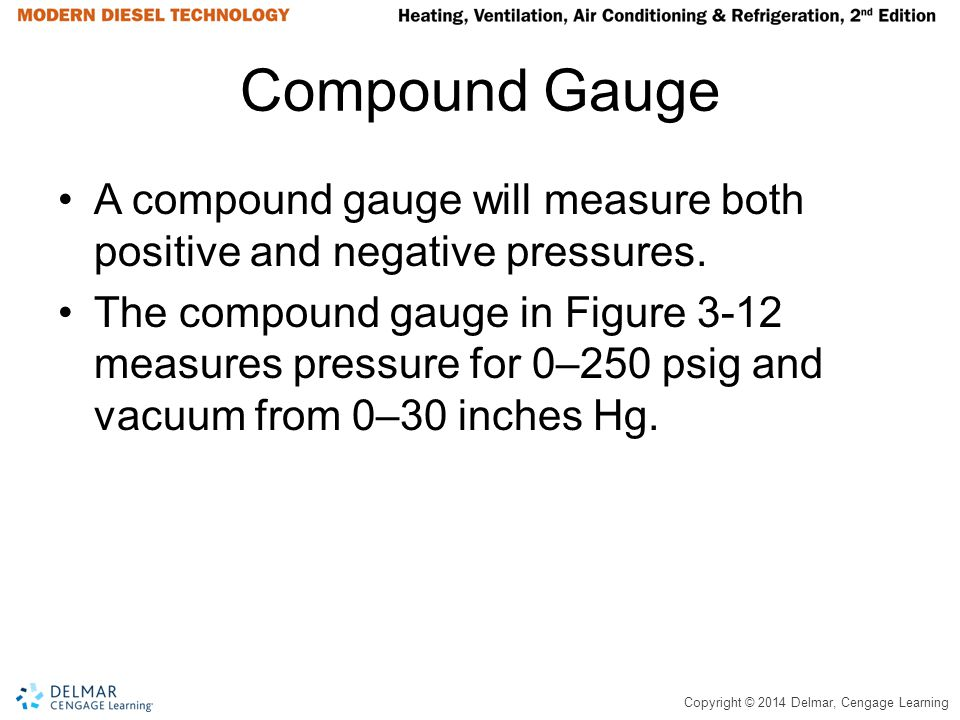 Copyright © 2014 Delmar, Cengage Learning Compound Gauge A compound gauge will measure both positive and negative pressures. The compound gauge in Fig