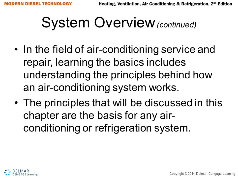 Copyright © 2014 Delmar, Cengage Learning System Overview (continued) In the field of air-conditioning service and repair, learning the basics include