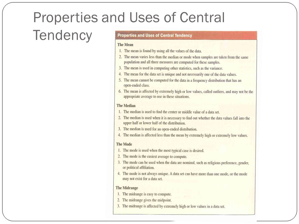Properties and Uses of Central Tendency