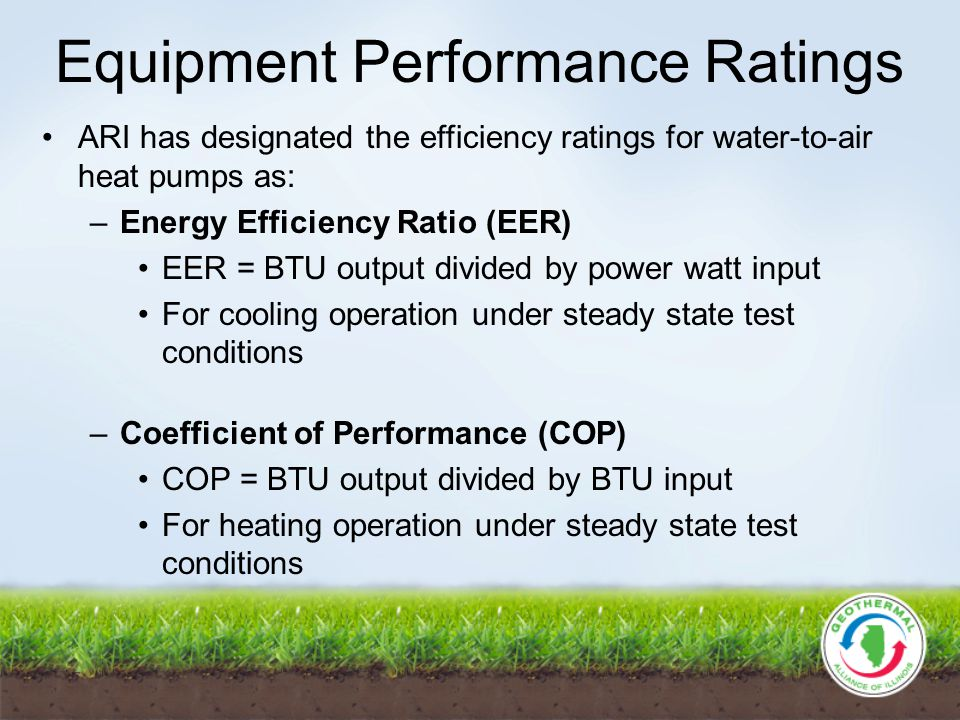 Equipment Performance Ratings ARI has designated the efficiency ratings for water-to-air heat pumps as: –Energy Efficiency Ratio (EER) EER = BTU output divided by power watt input For cooling operation under steady state test conditions –Coefficient of Performance (COP) COP = BTU output divided by BTU input For heating operation under steady state test conditions