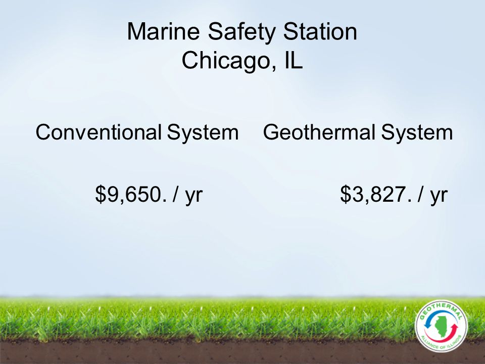Marine Safety Station Chicago, IL Conventional System Geothermal System $9,650. / yr $3,827. / yr