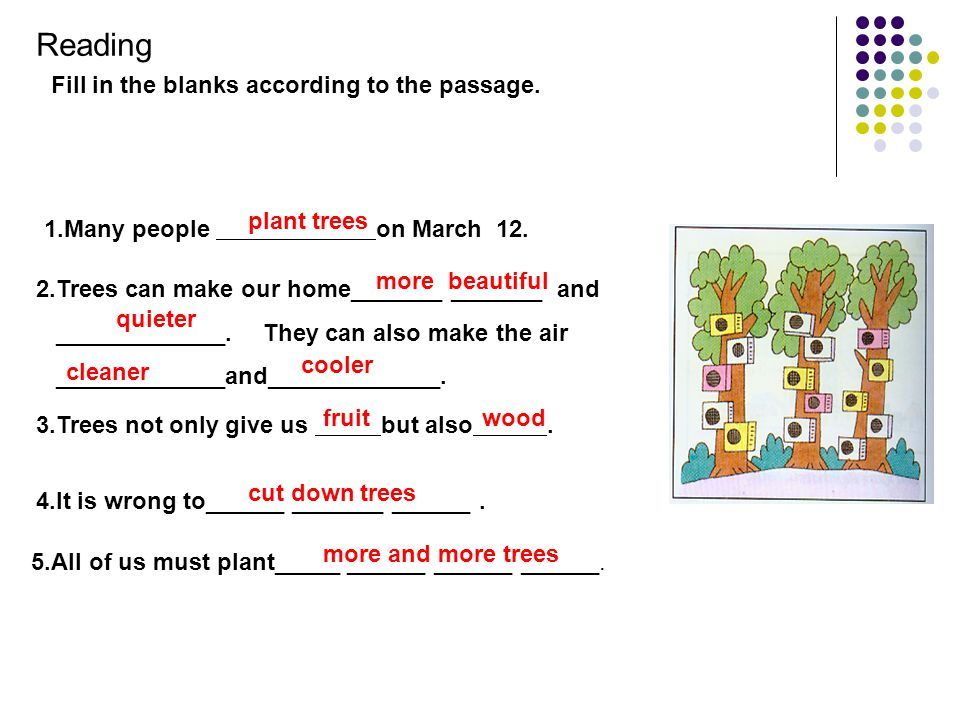 1.What must we do first when we plant trees? 2.What do we do next? 3.Where to we put the tree? 4. After we put the earth back in the hole, what do we