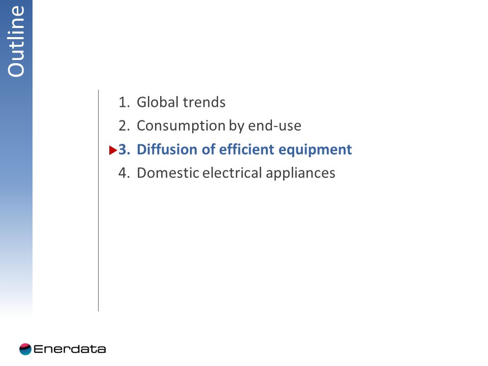 Outline 1.Global trends 2.Consumption by end-use 3.Diffusion of efficient equipment 4.Domestic electrical appliances