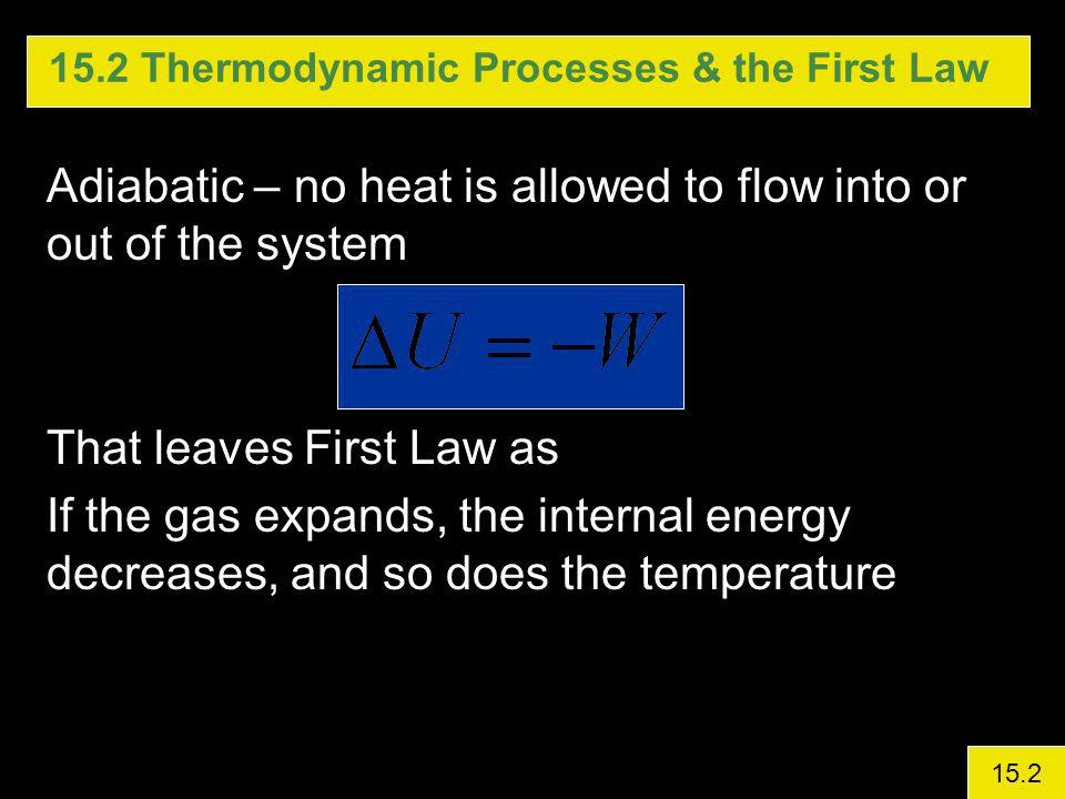 15.2 Thermodynamic Processes & the First Law Adiabatic – no heat is allowed to flow into or out of the system That leaves First Law as If the gas expands, the internal energy decreases, and so does the temperature 15.2