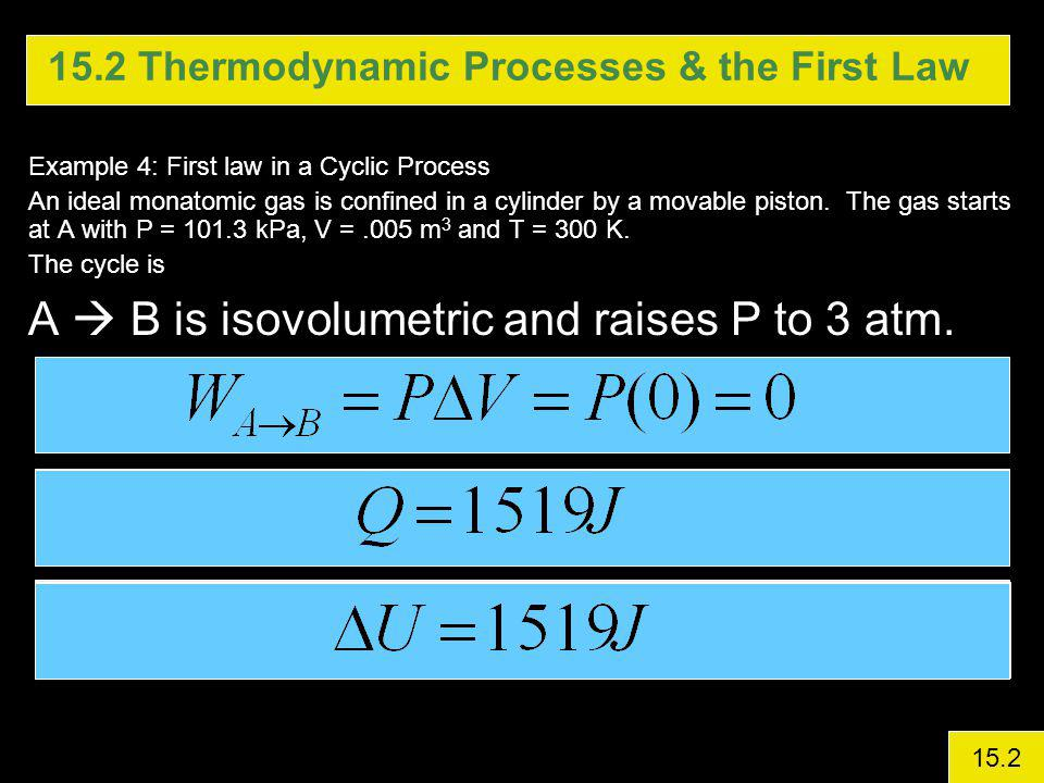 15.2 Thermodynamic Processes & the First Law Example 4: First law in a Cyclic Process An ideal monatomic gas is confined in a cylinder by a movable piston.