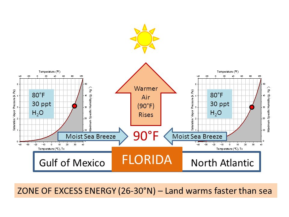 FLORIDA Gulf of MexicoNorth Atlantic ZONE OF EXCESS ENERGY (26-30°N) – Land warms faster than sea 90°F Warmer Air (90°F) Rises Moist Sea Breeze 80°F 3