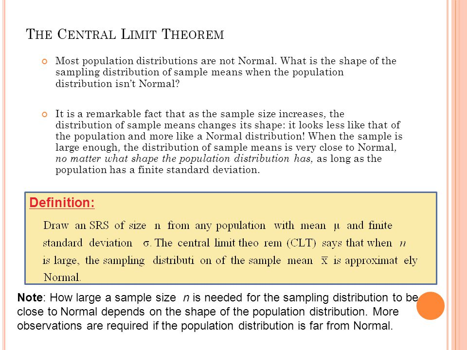 T HE C ENTRAL L IMIT T HEOREM Most population distributions are not Normal. What is the shape of thesampling distribution of sample means when the pop