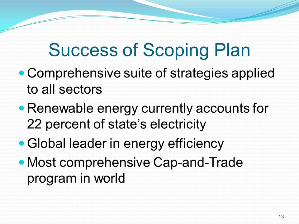 Success of Scoping Plan Comprehensive suite of strategies applied to all sectors Renewable energy currently accounts for 22 percent of states electric