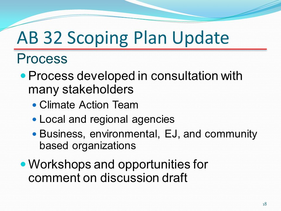 AB 32 Scoping Plan Update Process Process developed in consultation with many stakeholders Climate Action Team Local and regional agencies Business, e