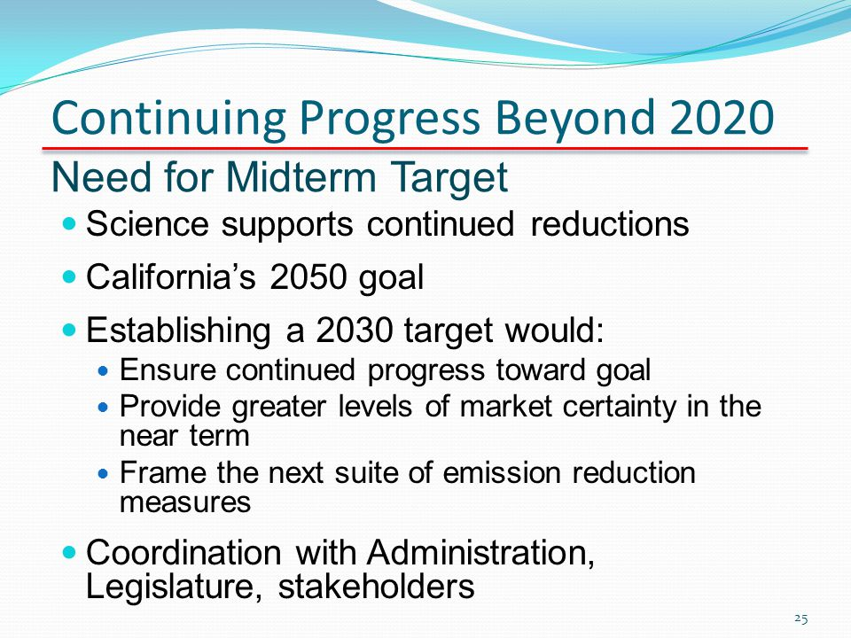 Continuing Progress Beyond 2020 Need for Midterm Target Science supports continued reductions Californias 2050 goal Establishing a 2030 target would: Ensure continued progress toward goal Provide greater levels of market certainty in the near term Frame the next suite of emission reduction measures Coordination with Administration, Legislature, stakeholders 25