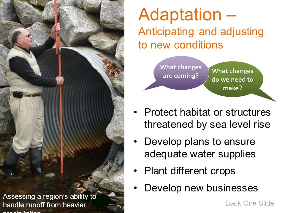 Adaptation – Anticipating and adjusting to new conditions Protect habitat or structures threatened by sea level rise Develop plans to ensure adequate water supplies Plant different crops Develop new businesses What changes are coming.