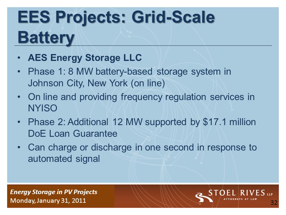 Energy Storage Due Diligence WEDNESDAY, January 26, 2011 Energy Storage in PV Projects Monday, January 31, 2011 EES Projects: Vehicle-to-Grid (V2G) PJM Vehicle-to-Grid (V2G) pilot program in Delaware.