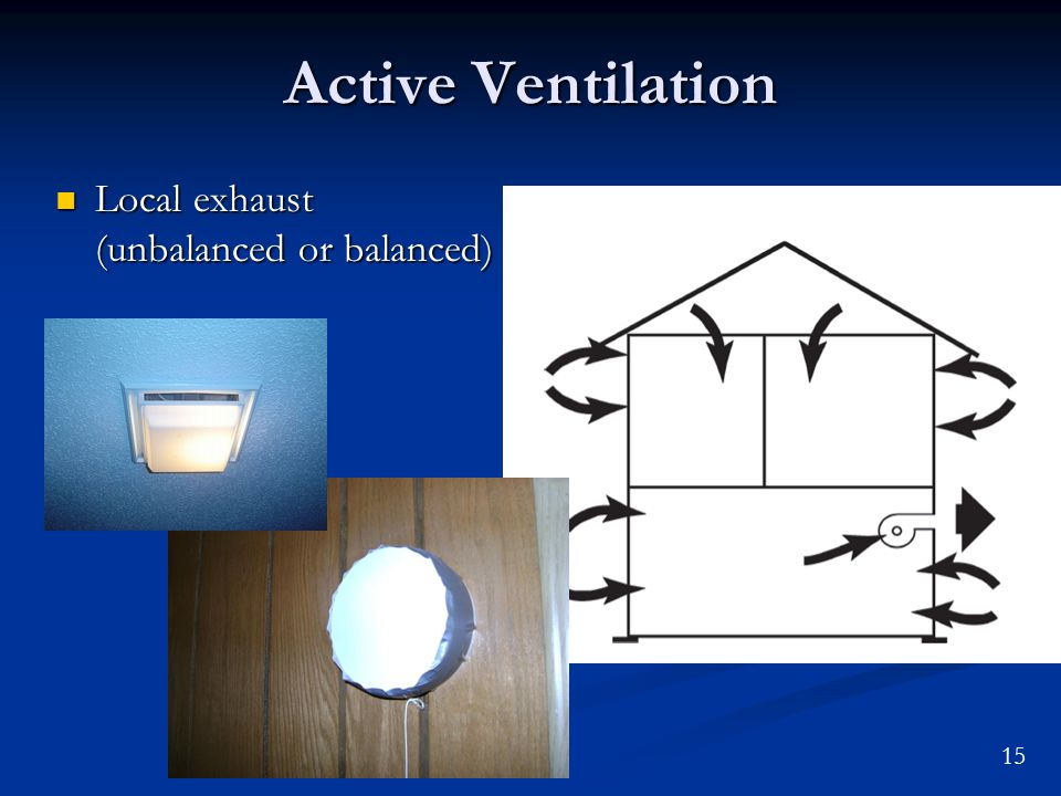 15 Active Ventilation Local exhaust (unbalanced or balanced) Local exhaust (unbalanced or balanced)