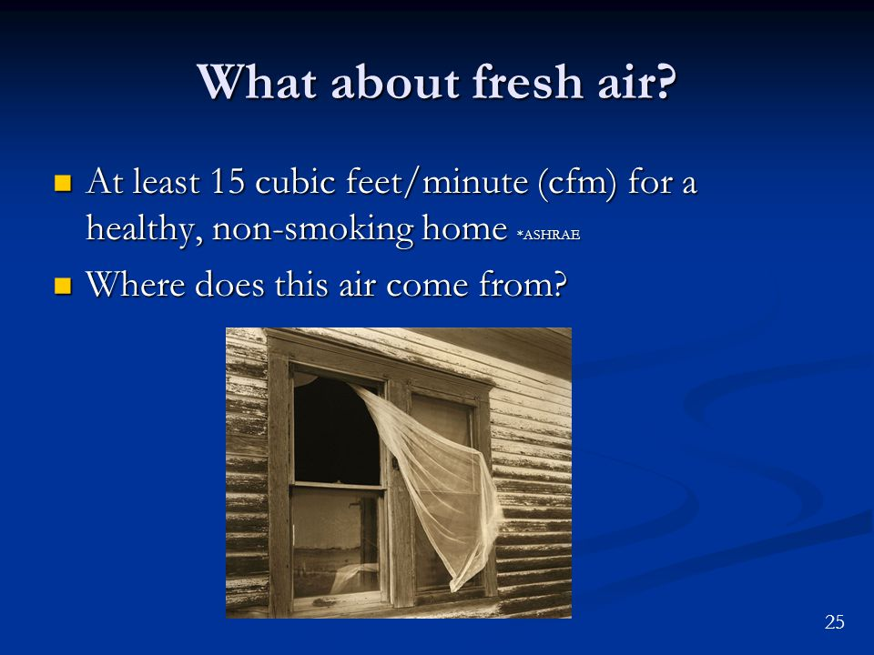 25 What about fresh air? At least 15 cubic feet/minute (cfm) for a healthy, non-smoking home *ASHRAE At least 15 cubic feet/minute (cfm) for a healthy