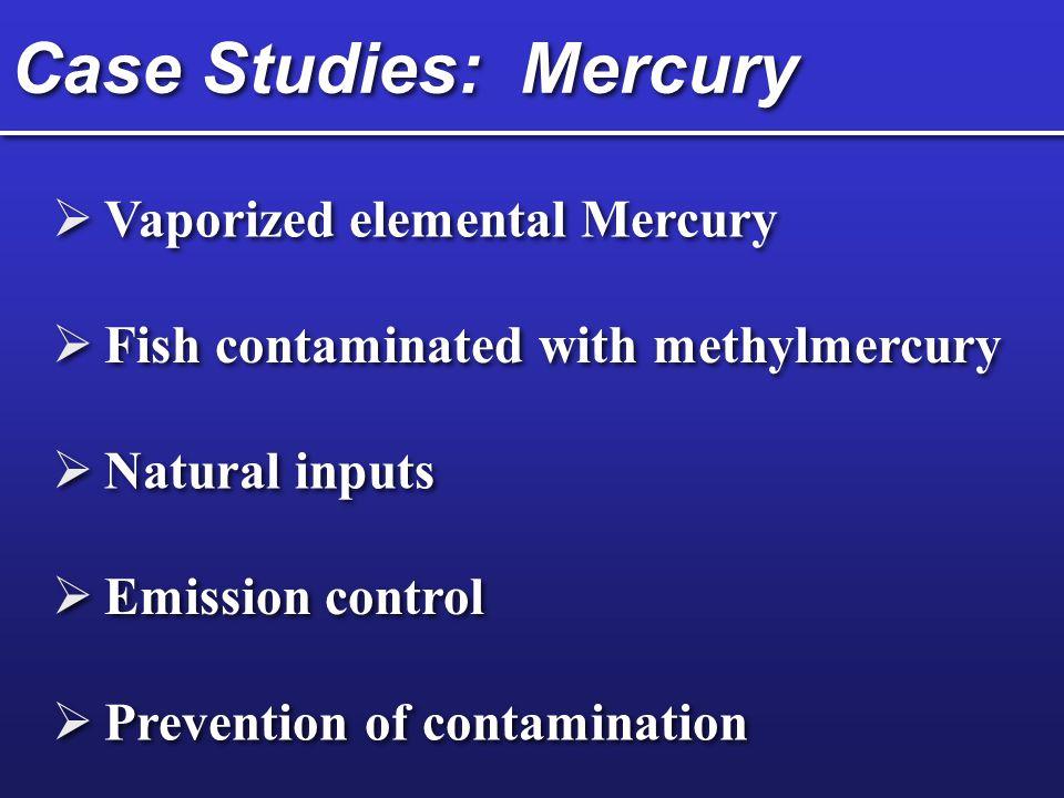 Case Studies: Mercury Vaporized elemental Mercury Fish contaminated with methylmercury Natural inputs Emission control Prevention of contamination