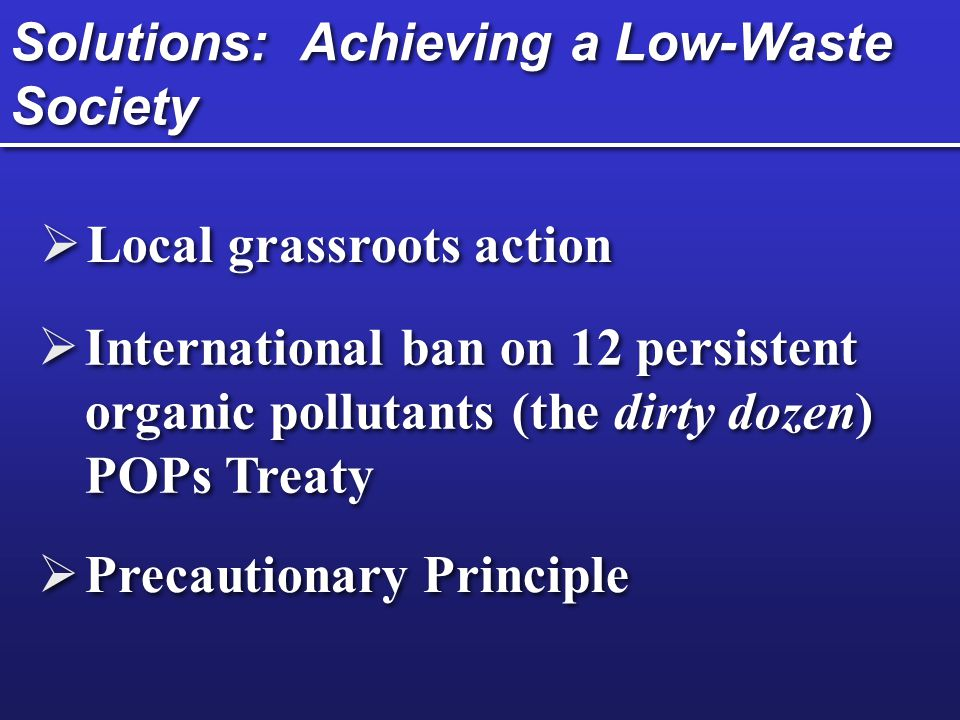 Solutions: Achieving a Low-Waste Society Local grassroots action International ban on 12 persistent organic pollutants (the dirty dozen) POPs Treaty P