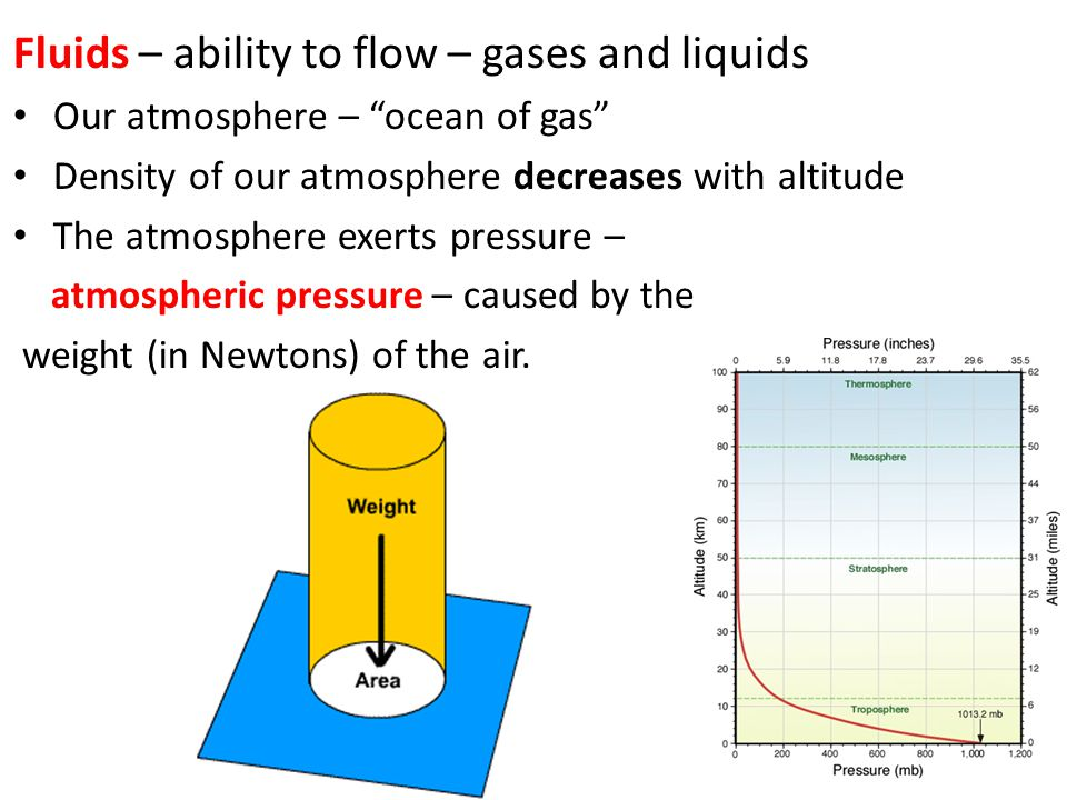 Fluids – ability to flow – gases and liquids Our atmosphere – ocean of gas Density of our atmosphere decreases with altitude The atmosphere exerts pre