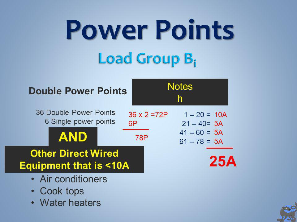 Power Points Double Power Points Notes h 36 Double Power Points 6 Single power points 36 x 2 =72P 6P 78P 1 – 20 = 21 – 40= 41 – 60 = 61 – 78 = 10A 5A 25A Other Direct Wired Equipment that is <10A Air conditioners Cook tops Water heaters AND
