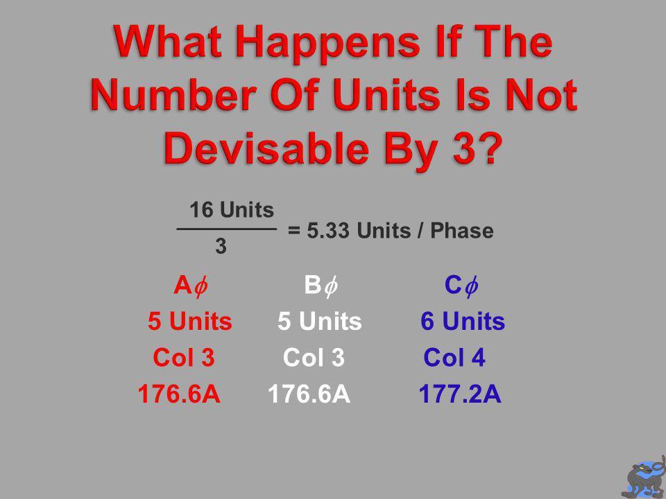 16 Units 3 = 5.33 Units / Phase A 5 Units Col 3 B C 5 Units6 Units Col 3Col 4 176.6A 177.2A